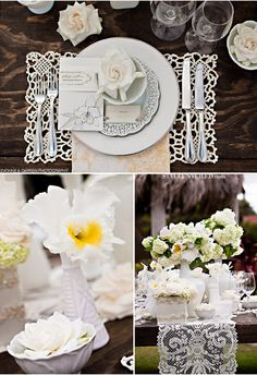 The lace place setting on the rustic wooden table is the perfect combination of natural and romantic.