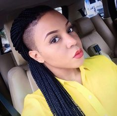 Now Trending – Braids & Twists With Shaved Sides. One of the hottest hair trends for black women includes braided & twisted hairstyles with shaven sides. This hair trend is edgy, mode… Tapered Natural Hair, Natural Hair Styles, Short Hair Styles, Mohawk Styles, Unique Braids, Beautiful Braids, Shaved Side Hairstyles, Braided Hairstyles, Undercut Hairstyles