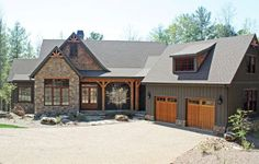 Gray and stone-Front Exterior of The Solstice Springs - House Plan Number 5011