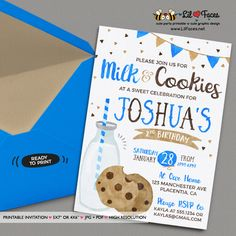 Milk and Cookies invitation DIY Milk and Cookies birthday party printable invite boy Milk & cookies birthday invitation