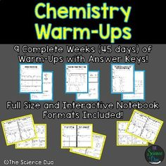 How do teachers encourage building individual lab skills in classes chemistry warm ups bell ringers fandeluxe Gallery