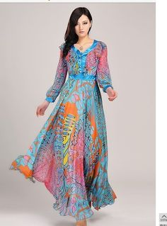 Summer Maxi Dresses | Bohemia Beach Dress ladies' printed plus size chiffon Maxi Dress ...