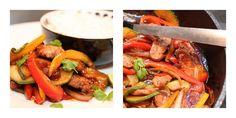 Wok med svin, paprika, squash og ingefær Kung Pao Chicken, Wok, Squash, Beef, Ethnic Recipes, Meat, Pumpkins, Gourd, Woks