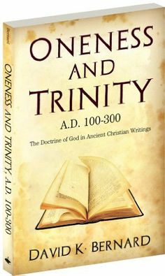 Oneness and Trinity by David K. Bernard. $9.51. 136 pages. Publisher: Word Aflame Press (February 24, 2011). A study of the doctrine of God in the early Christian writings after the Bible and before the Council of Nicea. It uncovers (1)historical evidence for Oneness beliefs during this time and (2)when and how the doctrine of the trinity developed.                            Show more                               Show less