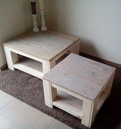 Duo van landelijke salontafel in steigerhout