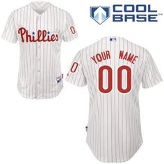 customized philadelphia phillies jersey white red strip home cool base baseball jersey