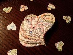 Large & Small Mix of Vintage Map Page Heart Confetti -- Wedding Decor -- Bridal Shower Decor -- Table Decoration -- Upcycled via Etsy