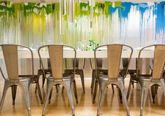 Doug Meyer interior and painting. Los Angeles. Site specific installation for the David Rinehart dinner at PVAC.