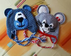 Mouse and dog crochet hat,
