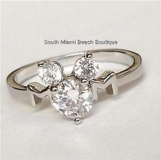 Mickey-Mouse-Ears-Ring-Cubic-Zirconia-Silver-Rhodium-Plated-Disney-Size-6-7-USA