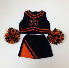 "Www.football-belles.com Girls- Auburn Tigers Cheerleader Outfit for 18"" Doll"