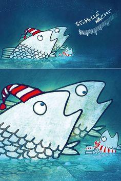 """Weihnachtskarten - individuelle Illustration """"weihnachtliche Fische beim singen"""" von Cornelius Schödl / CosmosMedia Corporate Design, Web Design, Cornelius, Design Studio, Illustration, Poster, Snoopy, Fictional Characters, Visual Communication"""