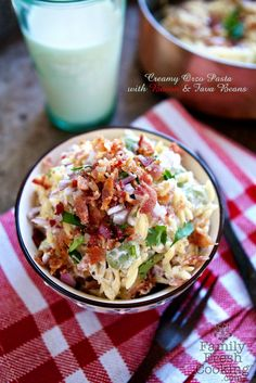 Creamy Orzo Pasta with Bacon & Fava beans on FamilyFreshCooking.com @Real California Milk #30daysofCAdairy