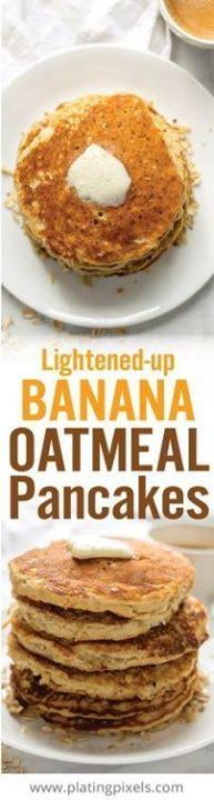 Gluten free Lightene Gluten free Lightened Up Banana... Gluten free Lightene Gluten free Lightened Up Banana Oatmeal Gluten free Lightene Gluten free Lightened Up Banana Oatmeal Pancakes make a quick and easy healthy breakfast. Made with wholesome ingredients including oats almond flour olive oil milk banana honey and egg. - www.platingpixels