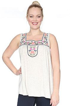 Plus Size Embroidered Floral Bib Tank Oatmeal 3X ** Check this awesome product by going to the link at the image.Note:It is affiliate link to Amazon.