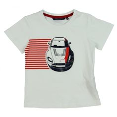 Aston Martin Boys White T-Shirt with Red Stripe and Car Print