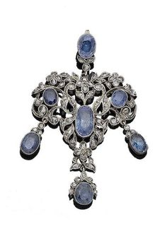 A sapphire and diamond pendant, (partially illustrated)