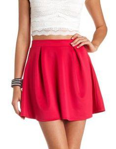 pleated high-waisted skater skirt
