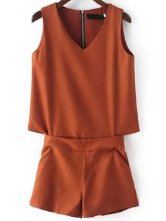 Brown V Neck Sleeveless Zipper Jumpsuit 22.67