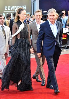 Olivia Wilde, Daniel Craig, and Harrison Ford at the Cowboys and Aliens premiere