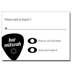 Acoustic Guitar Strings Bar Mitzvah & Bat Mitzvah  Response Card