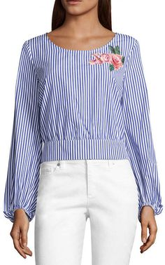 by&by Womens Round Neck Long Sleeve Poplin Blouse-Juniors, Color: Stripe Multi - JCPenney Color Stripes, Cuff Sleeves, Poplin, Sleeve Styles, Cotton Fabric, Bell Sleeve Top, Dressing, Blouse, Long Sleeve