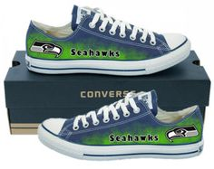 Hand Painted Converse Low Sneakers. Seattle Seahawks. Hawks. Football. Superbowl.12th man. Handpainted shoes. V2