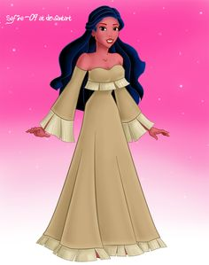 Disney Pocahontas.  After living in London for awile, she sewed herself a new dress of her own design.