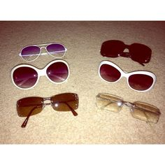 Kids sunglasses KIDS SUNGLASSES •all of these have just been sitting in my closet, all kids •2nd photo: both never worn •3rd photo(WHITES): the bigger one has been worn and slightly scratched, smaller one has never been worn, new with tag (PICTURE #3 IS SOLD) •4th photo: aviator glasses, purple ombré shade(SO CUTE), never worn •the black ones are new with tag 😎ask me about prices for individual ones!!😎 😊Shoot me some offers!😊 Accessories