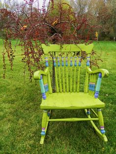 Hand Painted One Of A Kind Green Rocking Chair by Booth121 on Etsy, $120.00