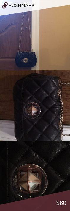 "Kate spade black quilted shoulder bag with gold hw Kate spade black quilted shoulder bag with gold hardware and gold chain. Clasp is gold hardware diamond clasp. Approximately 7""width 4""length. Fits wallet phone keys lipstick kate spade Bags Shoulder Bags"