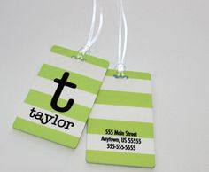 Monogrammed Tag for luggage, backpack, computer bag.