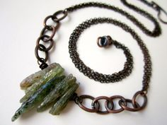 Psyche - simple primitive mystical teal green kyanite raw stone shards, chunky etched chain links, and layered oxidized copper necklace