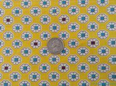 Vtg Feedsack Flour Sack 35.5 x 43 Open White Floral Aqua Brown Centers on Yellow