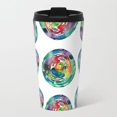 Easter Egg Metal Travel Mug by ANoelleJay | Society6 by ANoelleJay Fashion art design! We Have Cold Winter Teal Turquoise Blue Icey Icy Ice watercolor painting!Summer is far far away! Black and copper bold lines! New York city, @anoellejay abstract
