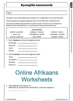 Education worksheets for Grade R - 12 - E-Classroom First Grade Math Worksheets, School Worksheets, Afrikaans Language, Adjective Words, Weather Lessons, Teaching Aids, Preschool Learning, Grade 3, Kids Education