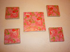 tile coasters/trivet made with vintage Lilly Pulitzer holiday fabric