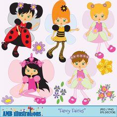 Fairy clipart, fairy clip art, clipart, commercial use, vector graphics, digital clip art, digital image, -  via Etsy http://www.etsy.com/shop/AMBillustrations?ref=si_shop