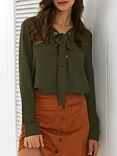 Long Sleeves Lace-Up Top