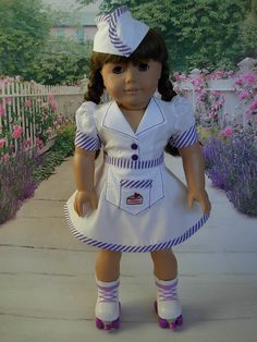 PRE-ORDER-1950's Car Hop/Waitress Uniform with Skates for AG Maryellen by WeeWhimzyWardrobe on Etsy $48.00