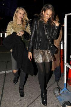 Jessica Alba wearing Chanel 2.55 Reissue Flap Bag Sam & Lavi Metallic Gold Aubrey Skirt