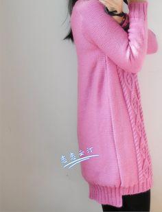 Розовая туника. Вязание спицами