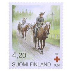 Postimerkki: Suomenhevonen - Sotahevonen | Suomen postimerkit Military Service, Postage Stamps, Forget, Baseball Cards, Vintage, Finland, Stamps, Historia, Red Cross