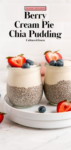 This berry cream pie chia pudding is quite easy to make and full of creamy vanilla flavor! This is a simple and quick no-bake recipe that is naturally vegan, gluten-free, and paleo-friendly. It's a gut-healthy dessert everyone can enjoy. #chia #pudding #berry #creampie