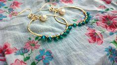 Gold hoops, hammered hoops, pearl hoops, wire wrapped hoops, crystal hoops, crystal earrings, bohemian hoops, boho jewelry, big hoops by RisingDawnBoutique on Etsy
