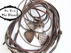 Personalized Guitar Pick Men's Necklace stamped jewelry rustic brown leather. $26.00, via Etsy.