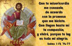 Que tu misericordia me consuele, de acuerdo con la promesa que me hiciste. Que llegue hasta mí tu compasión, y viviré, porque tu ley es toda mi alegría. (Salmo 119, 76-77)