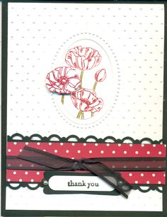 Stampin Up: Regal pattern paper (cherry cobbler), Pleasant poppies, double embossing.