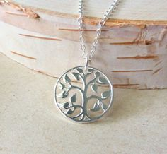 Tree Of Life Charm Necklace Sterling Silver Round Charm by JBMDesigns Jewelry on Etsy