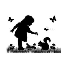 SILHOUETTE CHILDREN MURAL Decal Vintage Feeding Squirrel Wall Art Child Room Baby Girl Butterfly Nursery Kids Black Cameo Stickers Decor #decampstudios